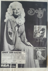Dolly Parton advertisement for her music
