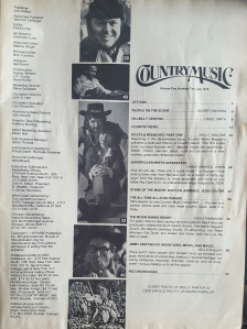 Country Music Magazine Table of Contents